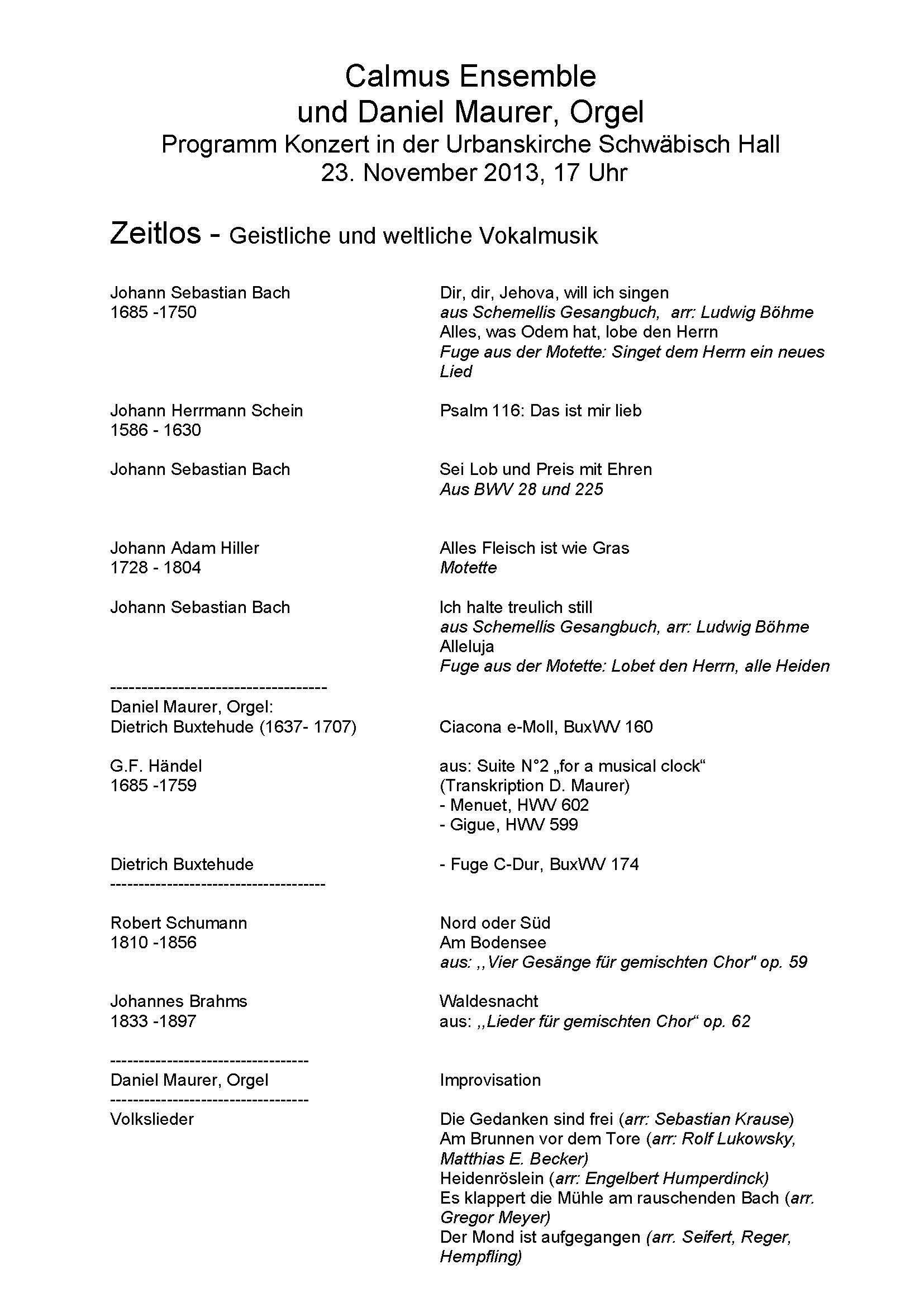 Calamus Ensemble - Programm 23.11.2013