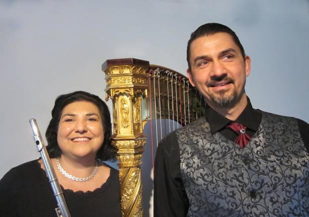 Cecilia Francesconi (Flöte) und Tobias Southcott (Harfe)